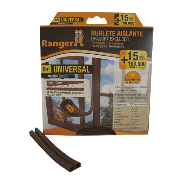 Burlete universal 9 mm x 6 m. Marron.
